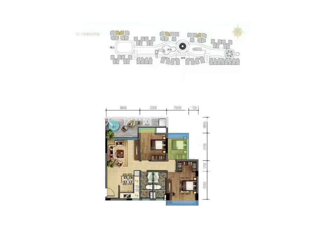 海棠湾8号 温泉公馆E2户型 3室2厅1厨2卫 90㎡.jpg