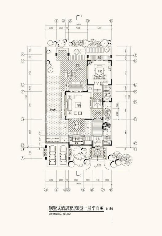 海的理想 B型一层平面图1室2厅1卫1厨121.56㎡.jpg