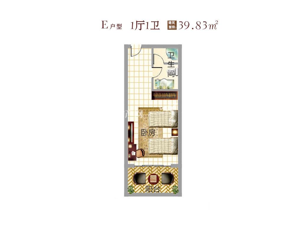东方假日 东方假日产权式酒店E户型 1室1卫  建筑面积39.83㎡