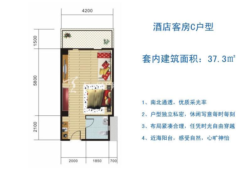 博鳌滨海小镇 酒店客房C户型-1房1厅1厨1卫37.3㎡.jpg