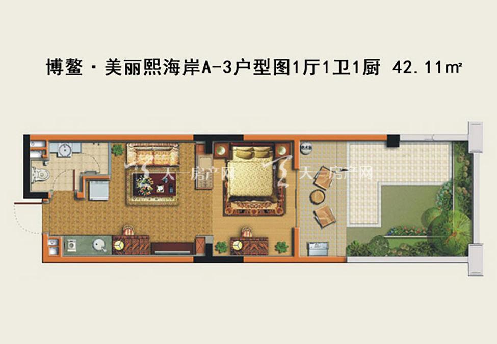 博鳌美丽熙海岸 博鳌·美丽熙海岸A-3户型图1厅1卫1厨-42.11㎡.j
