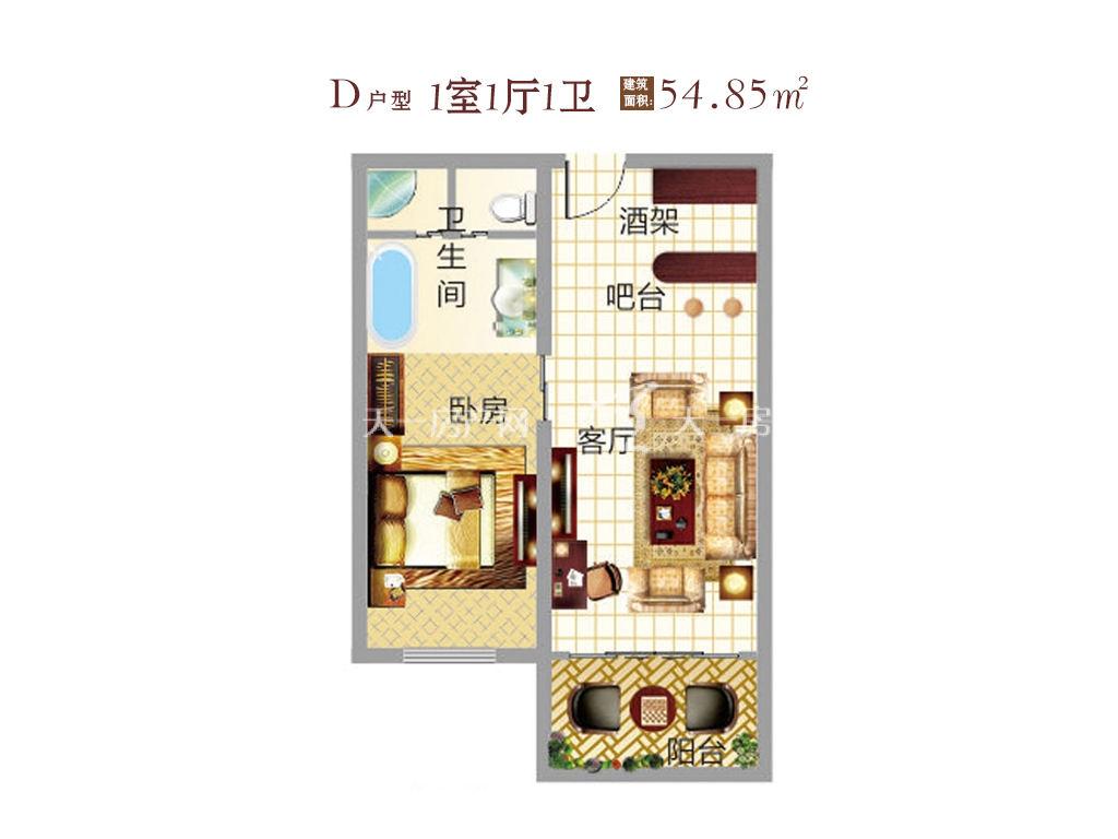 东方假日 东方假日产权式酒店D户型 1室1厅1卫  建筑面积54.8