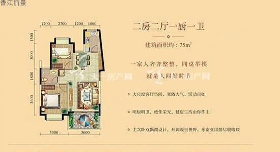 香江丽景 75平 2室2厅1卫1厨约75㎡.jpg