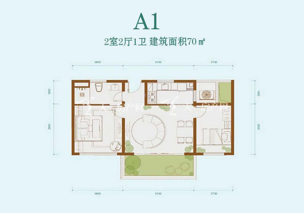 龙溪悦墅 龙溪悦墅A1户型-2室2厅1卫--建筑面积70㎡