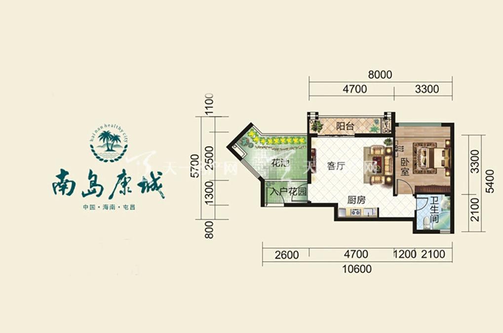 德盛南岛康城 6号楼 AB单元 E户型 1房1厅1厨1卫 52.09㎡.