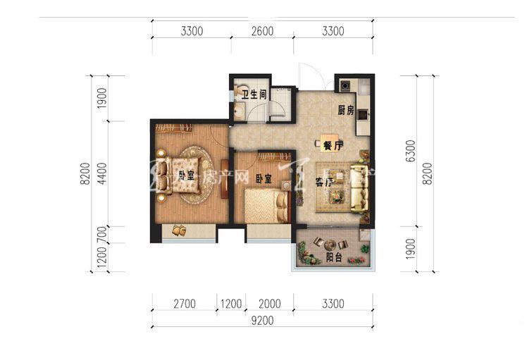 雅居乐西双林语 C户型-2室1厅1卫.jpg