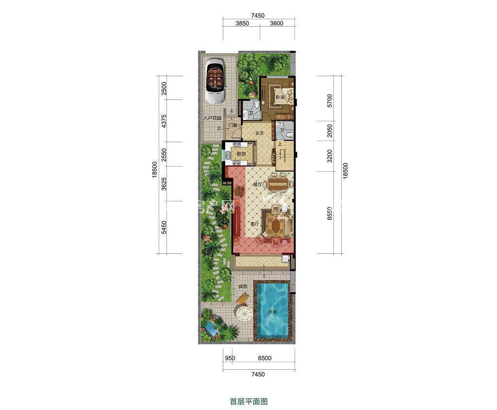 雅居乐西双林语联排B户型首层4室2厅5卫建筑面积约154㎡