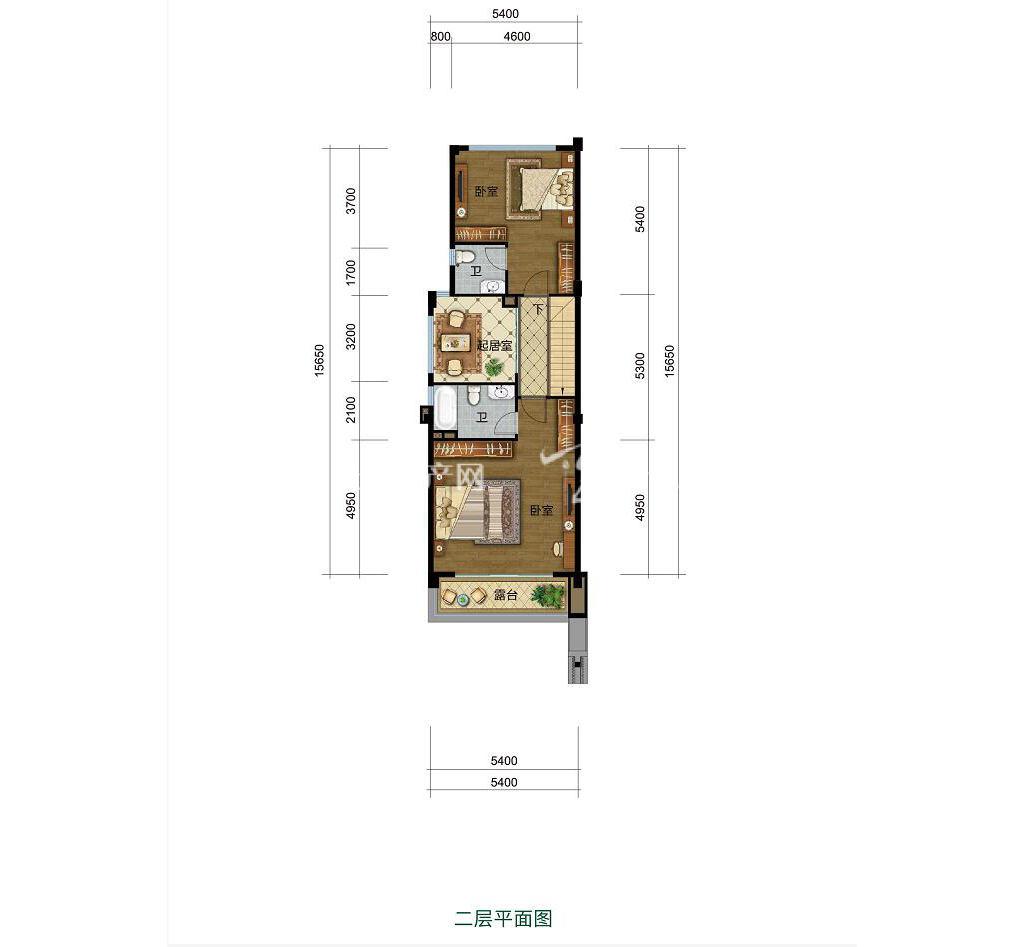 雅居乐西双林语联排G户型二层4室2厅3卫建筑面积约108㎡