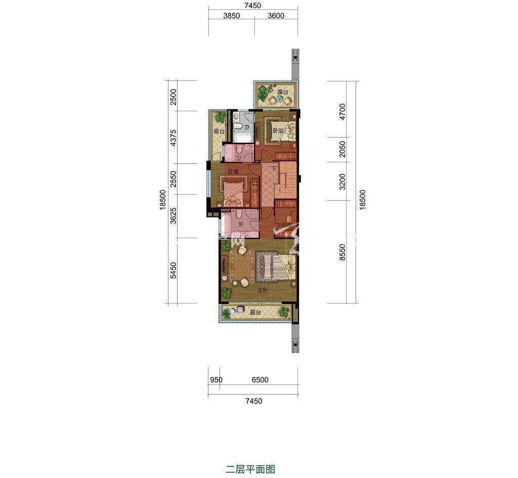 雅居乐西双林语联排B户型二层4室2厅5卫建筑面积约154㎡