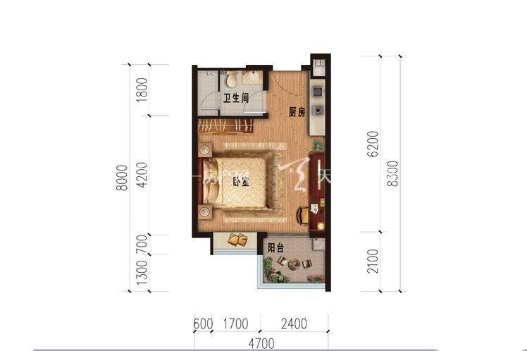 雅居乐西双林语 公寓A户型-1室1厅1卫.jpg