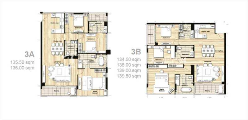 普吉岛Mai Khao海景公寓 平面户型图三居室134-162平方米.jpg