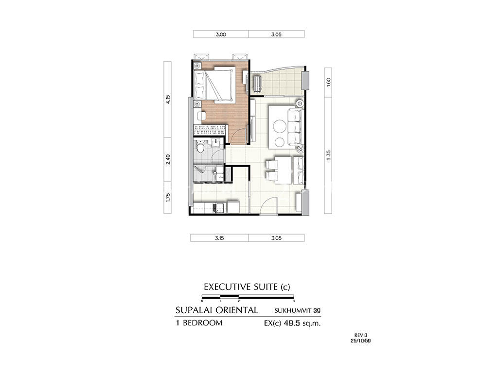 曼谷东方国际公寓 ex(c)户型-1房2厅-建筑面积49.5㎡.jpg