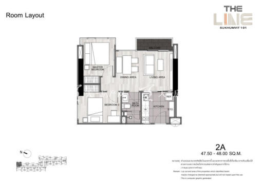 曼谷The Line精装公寓 47平方米两居户型图.jpg