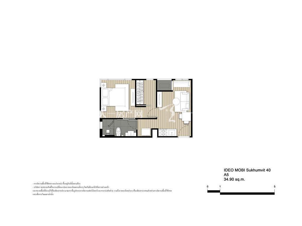 未来公馆 A5户型-1房1厅-建筑面积34.9㎡