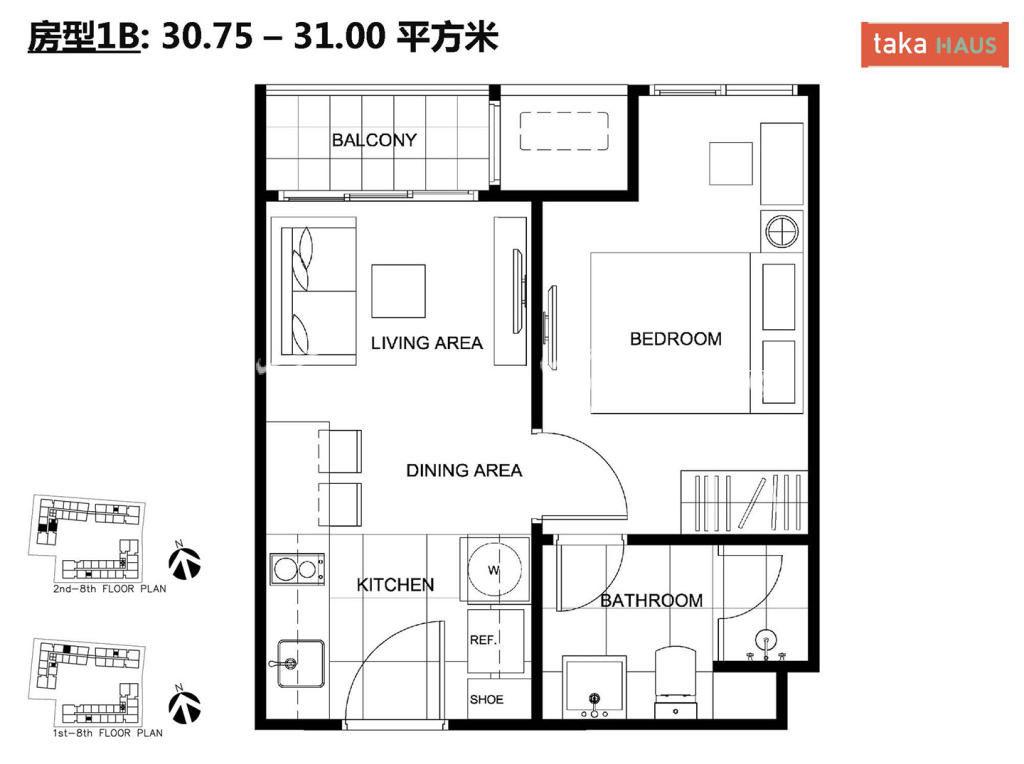 Taka HausTaka Haus 1B户型图1室1厅1卫1厨建筑面积30.75-31㎡