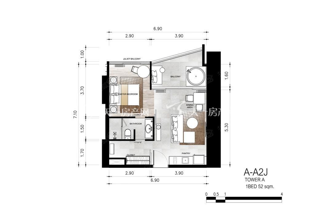 芭提雅第六境 户型A-A2J一室一卫约52㎡.jpg
