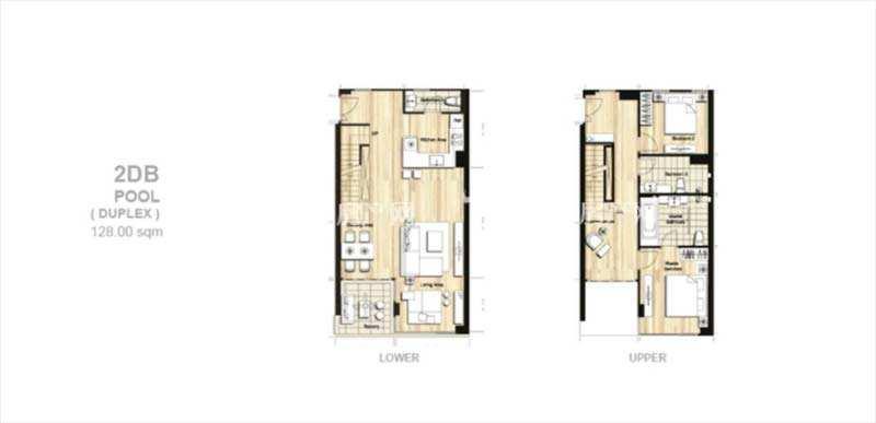 普吉岛Mai Khao海景公寓 平面户型图两层三居室128㎡.jpg