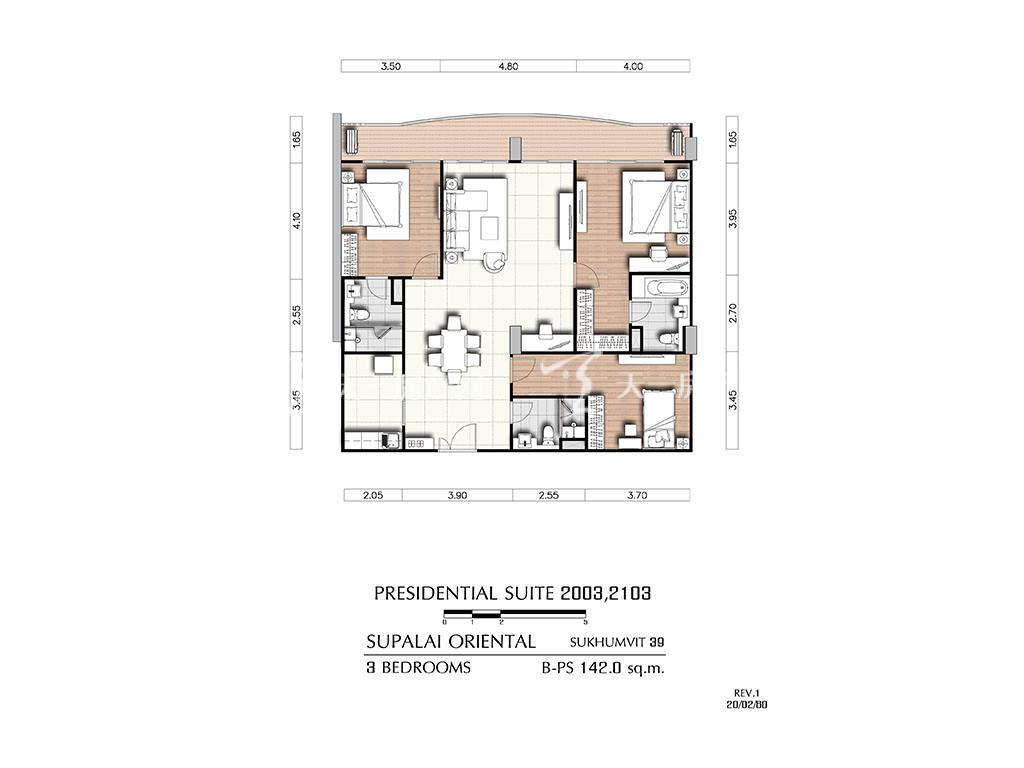 曼谷东方国际公寓 b-ps2003_2103户型-3房2厅-建筑面积142㎡
