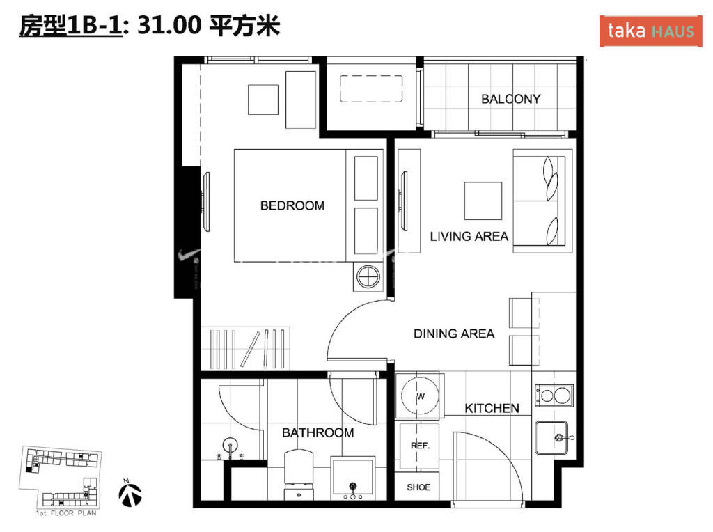 Taka HausTaka Haus 1B-1户型图1室1厅1卫1厨建筑面积31㎡