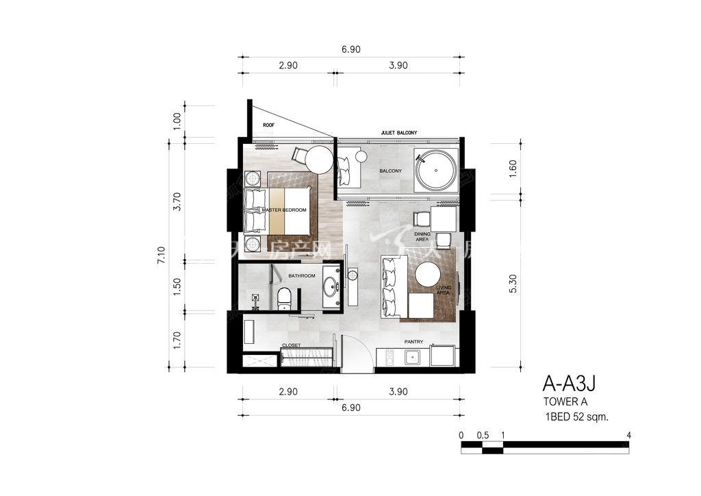 芭提雅第六境 A-A3J一室一卫约52㎡.jpg