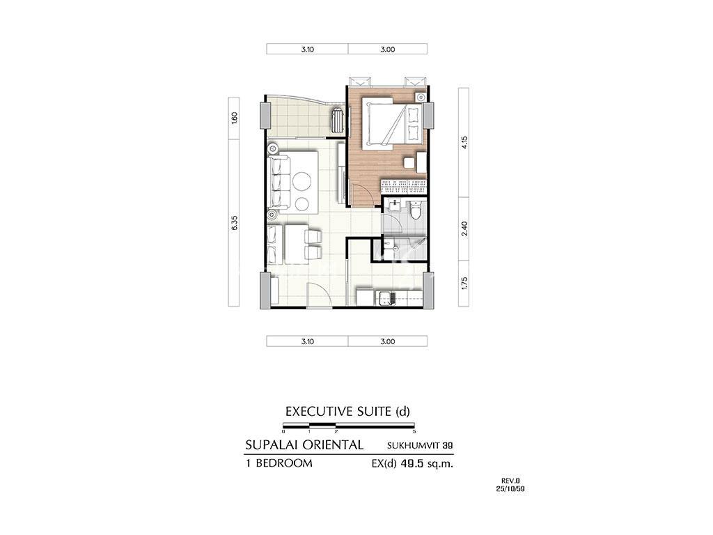 曼谷东方国际公寓 ex(d)户型-1房2厅-建筑面积49.5㎡.jpg