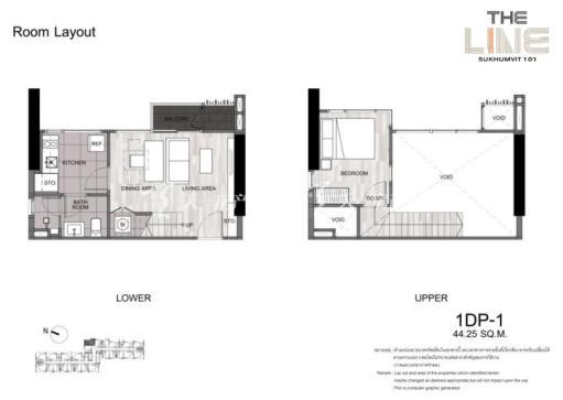 曼谷The Line精装公寓 复式44平方米一居户型.jpg