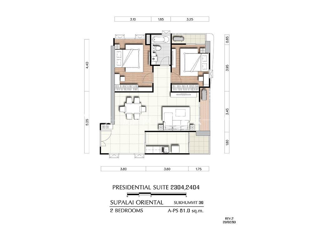 曼谷东方国际公寓 a-ps2304_2404户型-2房2厅-建筑面积81㎡.