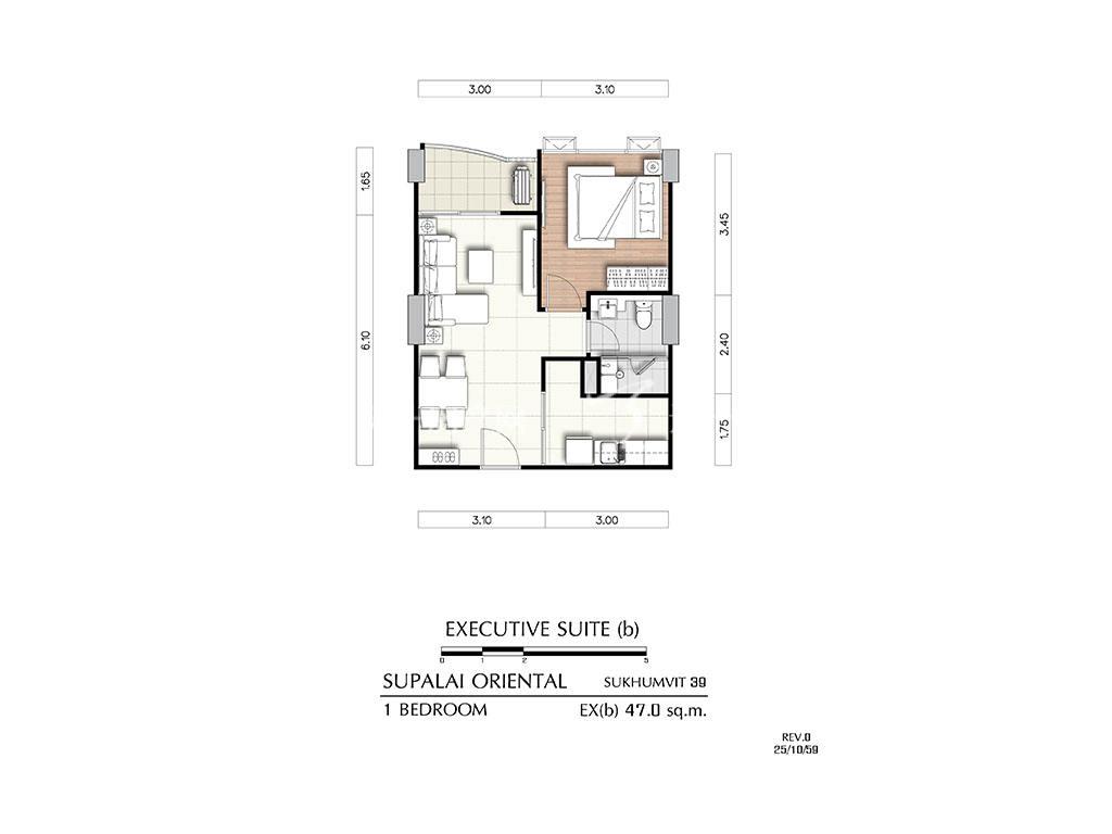 曼谷东方国际公寓 ex(b)户型-1房2厅-建筑面积47㎡.jpg