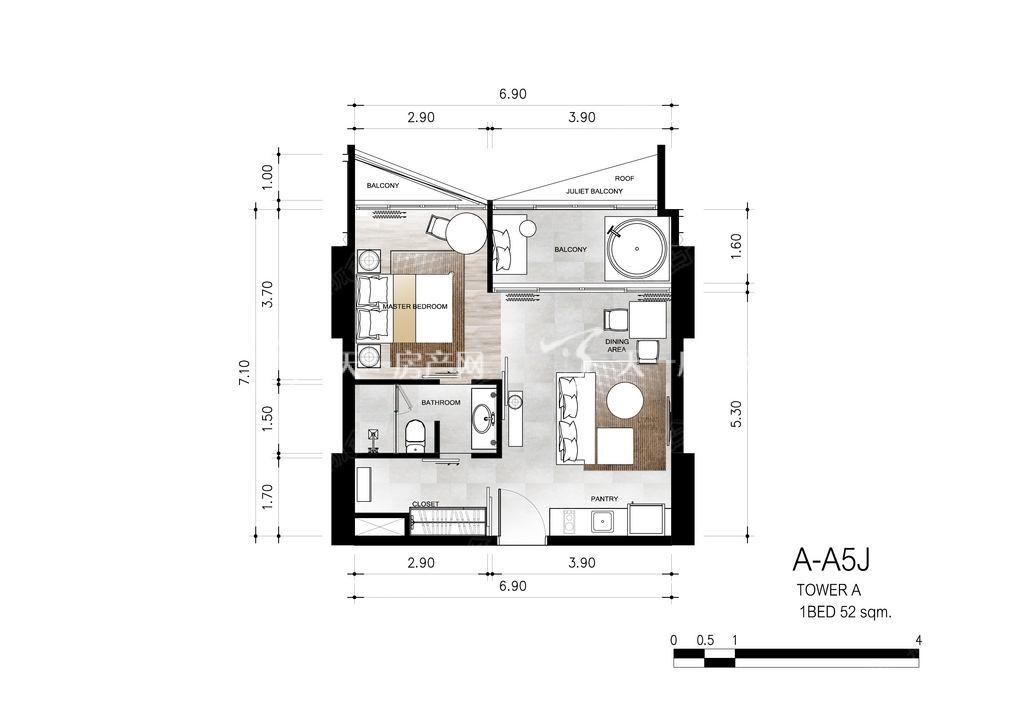 芭提雅第六境 A-A5J一室一卫约52㎡.jpg