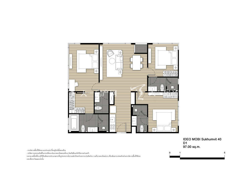 未来公馆 D1户型-3房2厅-建筑面积97㎡