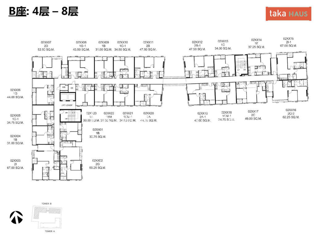Taka HausTaka Haus B座4-8层平面图