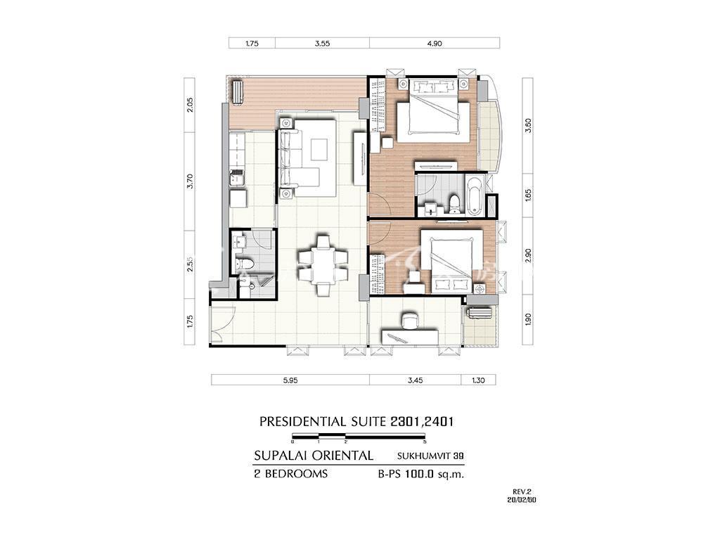 曼谷东方国际公寓 b-ps2301_2401户型-2房2厅-建筑面积100㎡