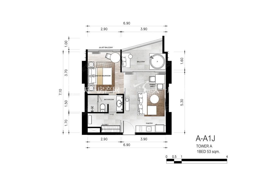 芭提雅第六境 A-A1J一室一卫约53㎡.jpg