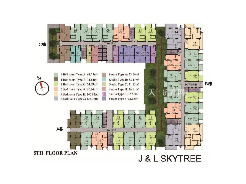 天空树(SKYTREE) 楼栋分布图
