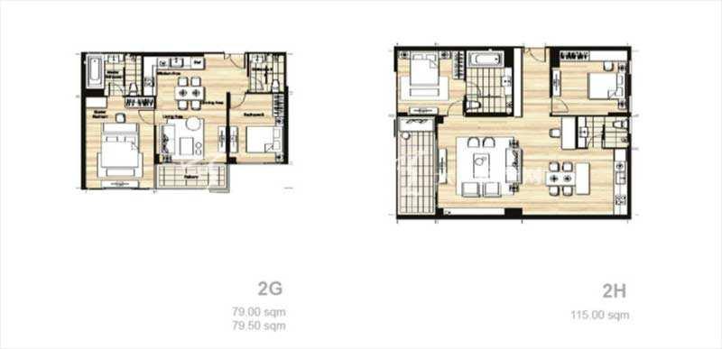 普吉岛Mai Khao海景公寓 平面户型图两居室79-98平方米(2).jpg
