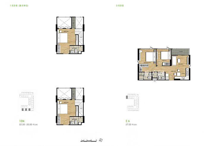 普吉市镇Base Height高层公寓 户型平面图一居34㎡两居57㎡.jpg