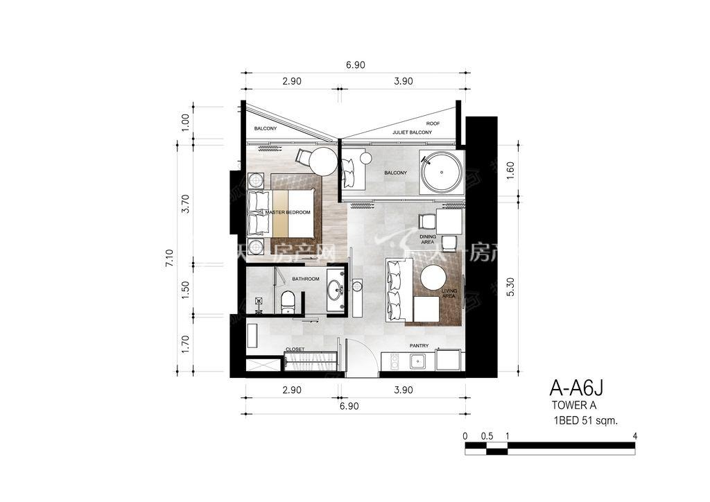 芭提雅第六境 A-A6J一室一卫约51㎡.jpg