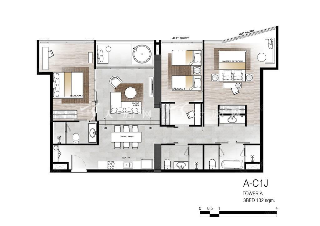 芭提雅第六境 A-C1J户型3室2厅3卫132㎡.jpg