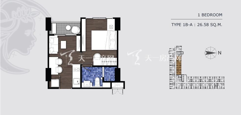 曼谷月盈新苑 1B-A一室一卫 26.58㎡.jpg