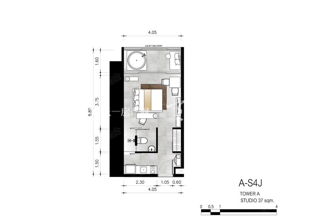 芭提雅第六境 A-S4J一室一卫约37㎡.jpg