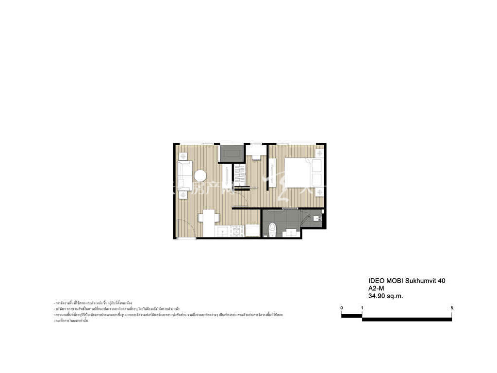 未来公馆 A2-M户型-1房2厅-建筑面积34.9㎡