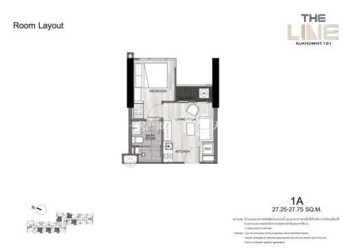 曼谷The Line精装公寓 27平方米一居户型图.jpg