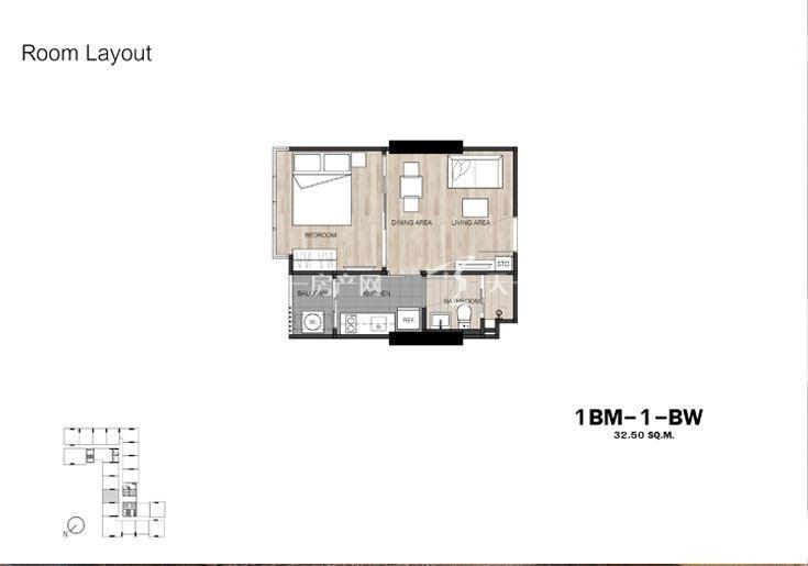 The Base GardenThe Base Garden 1B-1户型图1室1厅1卫1厨建筑面积32.5㎡