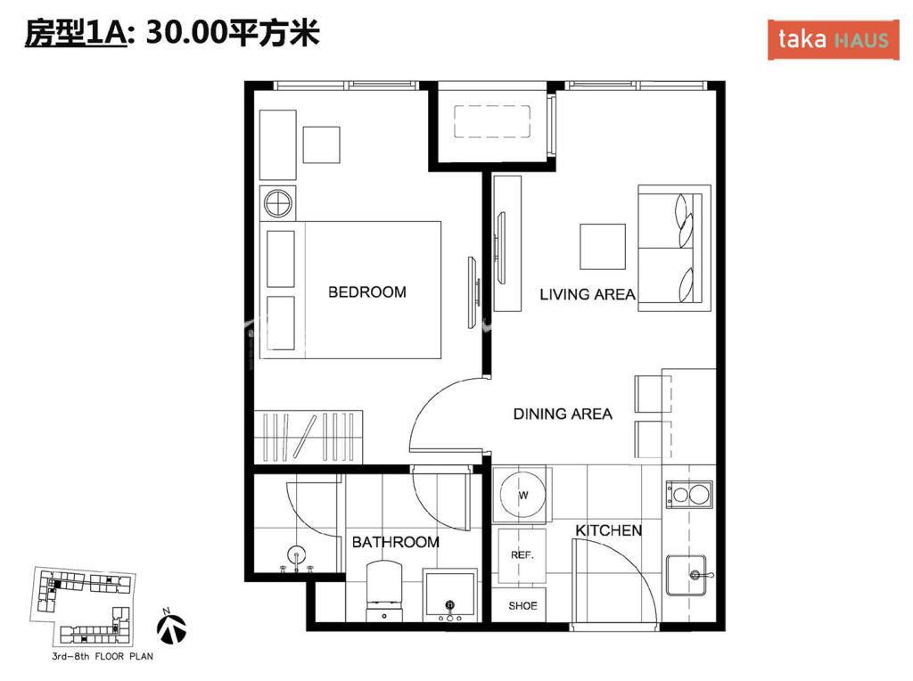 Taka HausTaka Haus 1A户型图1室1厅1卫1厨建筑面积30㎡
