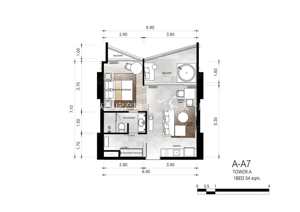 芭提雅第六境 户型A-A7一室一卫约54㎡.jpg