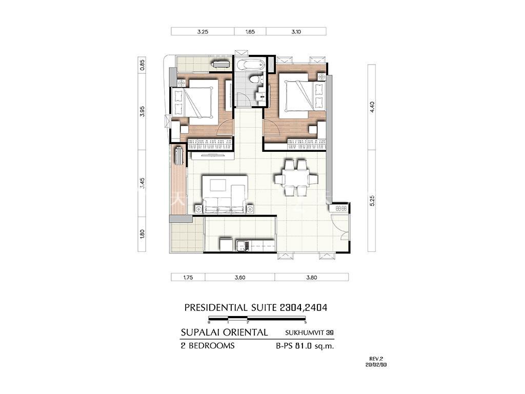 曼谷东方国际公寓 b-ps2304_2404户型-2房2厅-建筑面积81㎡.