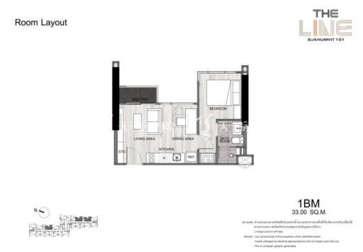 曼谷The Line精装公寓 33平方米一居户型图.jpg