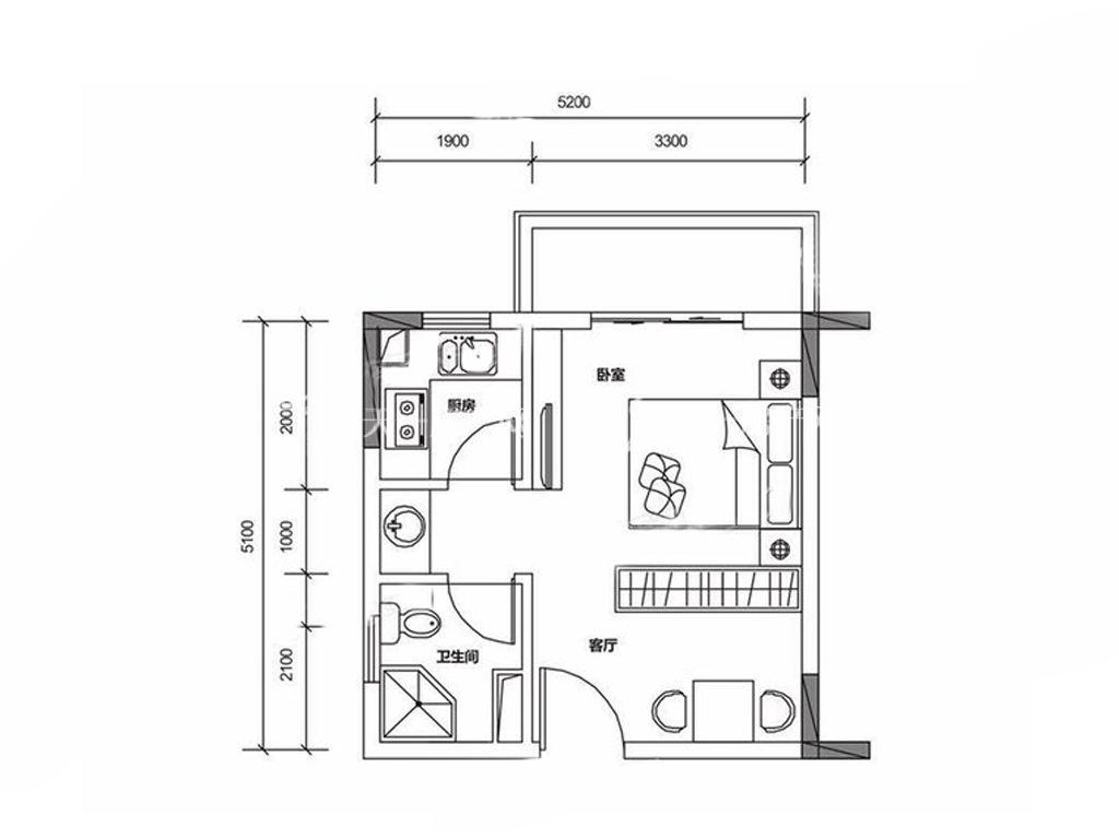 保利山水城 A户型 1室1厅1卫1厨 建筑面积:40.00㎡.jpg