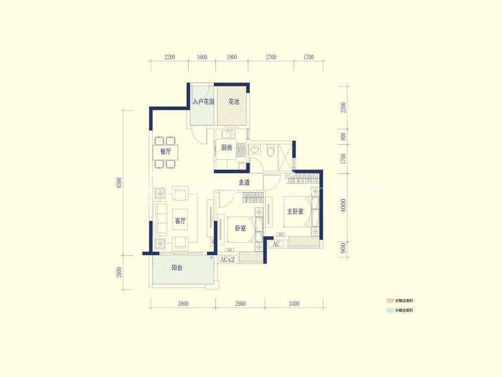 保利山水城 02户型 2室2厅1卫1厨 建筑面积:90.00㎡.jpg