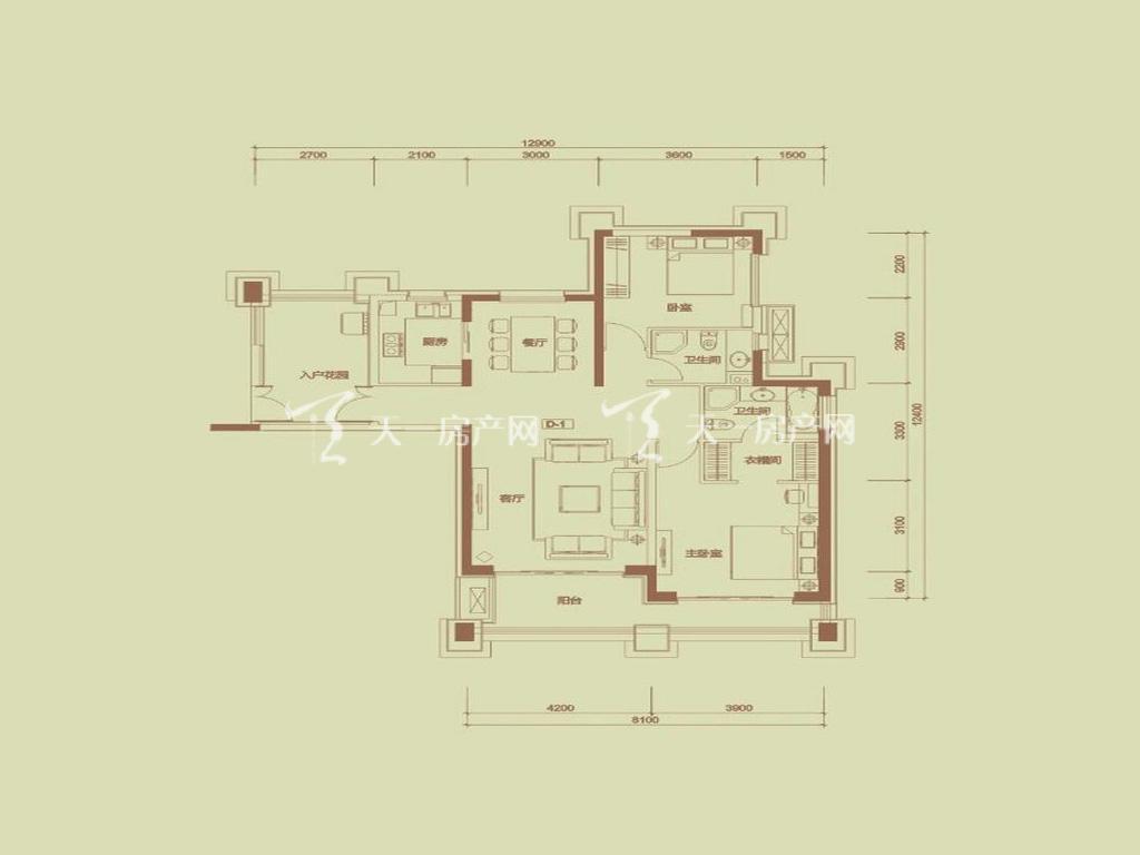 天隆三千海 泊心岸5栋D-1户型2室2厅2卫1厨建筑面积128.44㎡
